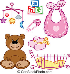 Cute New born baby girl toys graphic elements. Vector format fully editable