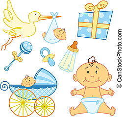 Cute New born baby graphic elements. Vector format, fully ...