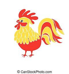 Cute New Year bird symbol design. Rooster cartoon illustration