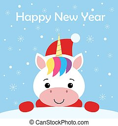 Cute New Year or Christmas greeting card with cute unicorn, Santa hat, scarf and snow on blue background. Cartoon character.
