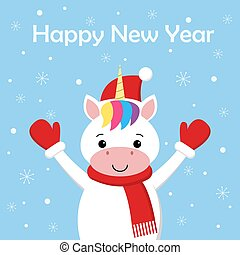 Cute New Year or Christmas greeting card with unicorn, Santa hat, scarf and snow on blue background. Cartoon character.