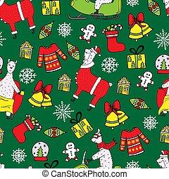 Cute New Year seamless pattern with Lamas.
