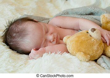 Cute newborn baby girl sleeps with a toy teddy bear