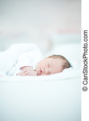 Newborn Baby Laying on White Bed - Cute Newborn Baby Laying...
