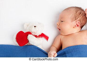 Cute newborn baby with a teddy bear under a blanket - Cute...