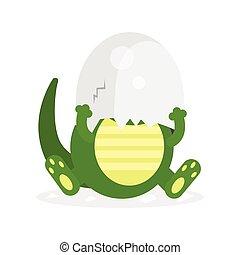 Cute newborn crocodile character, funny reptile in egg shell on his head cartoon vector Illustration