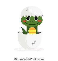 Cute newborn green dinosaur character, funny reptile in egg cartoon vector Illustration