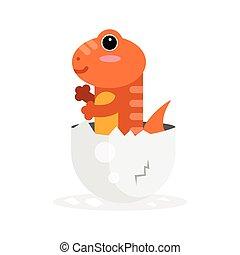 Cute newborn varan character, funny reptile in egg shell cartoon vector Illustration