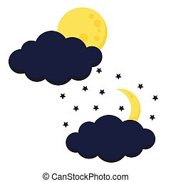 Cute night moon with clouds icon set full moon and crescent with stars.