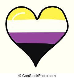 Cute non binary heart cartoon vector illustration motif set....