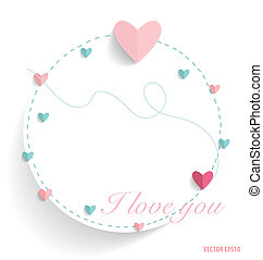 Cute note paper with hearts. Vector illustration.