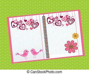 cute notebook over green background. vector illustration