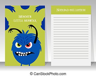 Cute notebook template with angry monster