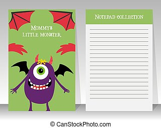 Cute notebook template with happy monster