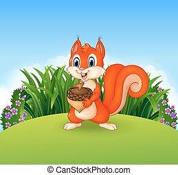 cute, noz, pequeno, segurando, esquilo