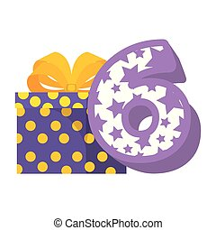 cute number six with gift