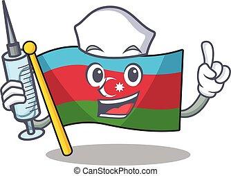 Cute Nurse flag azerbaijan character cartoon style with syringe