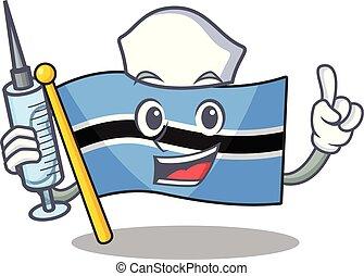 Cute nurse flag botswana character cartoon style with syringe