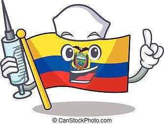 Cute Nurse flag ecuador character cartoon style with syringe