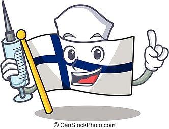 Cute Nurse flag finland character cartoon style with syringe