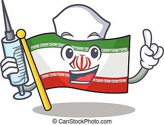 Cute Nurse flag iran character cartoon style with syringe