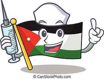 Cute Nurse flag jordan character cartoon style with syringe