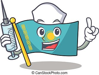 Cute Nurse flag kazakhstan character cartoon style with syringe