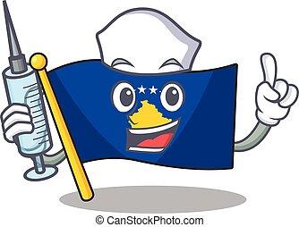 Cute Nurse flag kosovo character cartoon style with syringe