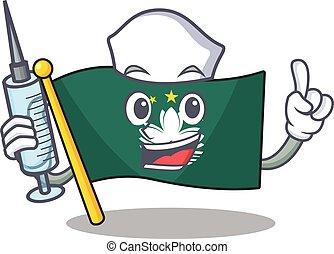 Cute Nurse flag macau character cartoon style with syringe