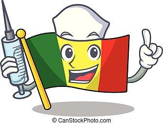 Cute Nurse flag mali character cartoon style with syringe