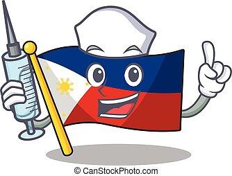 Cute Nurse flag philippines character cartoon style with syringe
