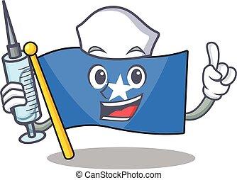 Cute Nurse flag somalia character cartoon style with syringe