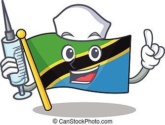 Cute Nurse flag tanzania character cartoon style with syringe