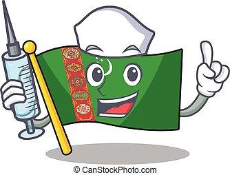 Cute Nurse flag turkmenistan character cartoon style with syringe
