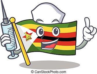 Cute Nurse flag zimbabwe character cartoon style with syringe