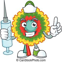 Cute Nurse pinata character cartoon style with syringe