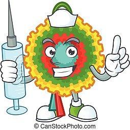 Cute Nurse pinata character cartoon style with syringe