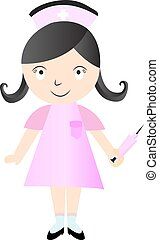Cute Nurse - Vector Character Cartoon Illustration