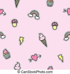Cute objects pattern with pink background.