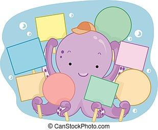 Cute Octopus Blank Signs - Illustration of a Cute Octopus...