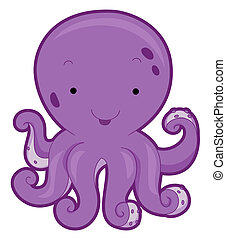 Cute Octopus with Clipping Path