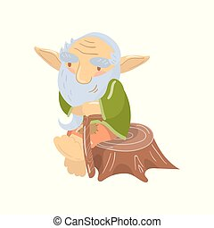 Cute old bearded troll character sitting on a stump, funny fairy tale creature cartoon vector Illustration