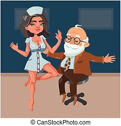 Cute old man and young sexy nurse