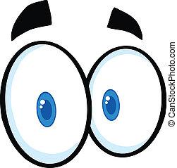 cute, olhos, caricatura