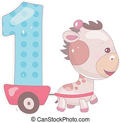 Cute one number with baby giraffe cartoon illustration. School math funny font symbol and kawaii animal character. Kids scrapbook sticker Children 1st years old birthday and anniversary number clipart