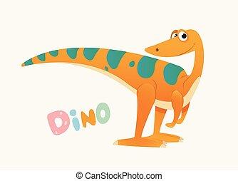 Cute Orange and Green Cartoon Baby Dino. Bright Colorful...