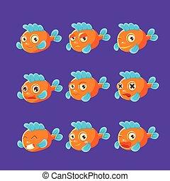 Cute Orange Aquarium Fish Cartoon Character Set Of Different Facial Expressions And Emotions