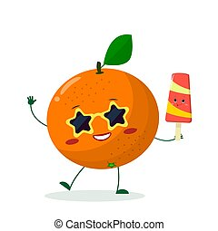Cute Orange cartoon character in sunglasses star in the hands of a colorful ice cream.
