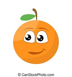 Cute Orange character with happy smiling face Vector illustration
