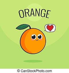 Cute Orange Fruit Character. Cartoon vintage vector illustration.